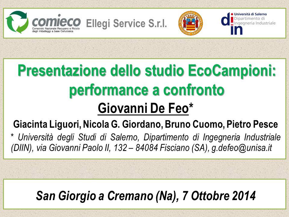 Presentazione dello studio EcoCampioni: performance a confronto Giovanni De Feo* Giacinta Liguori, Nicola G. Giordano, Bruno Cuomo, Pietro Pesce * Uni