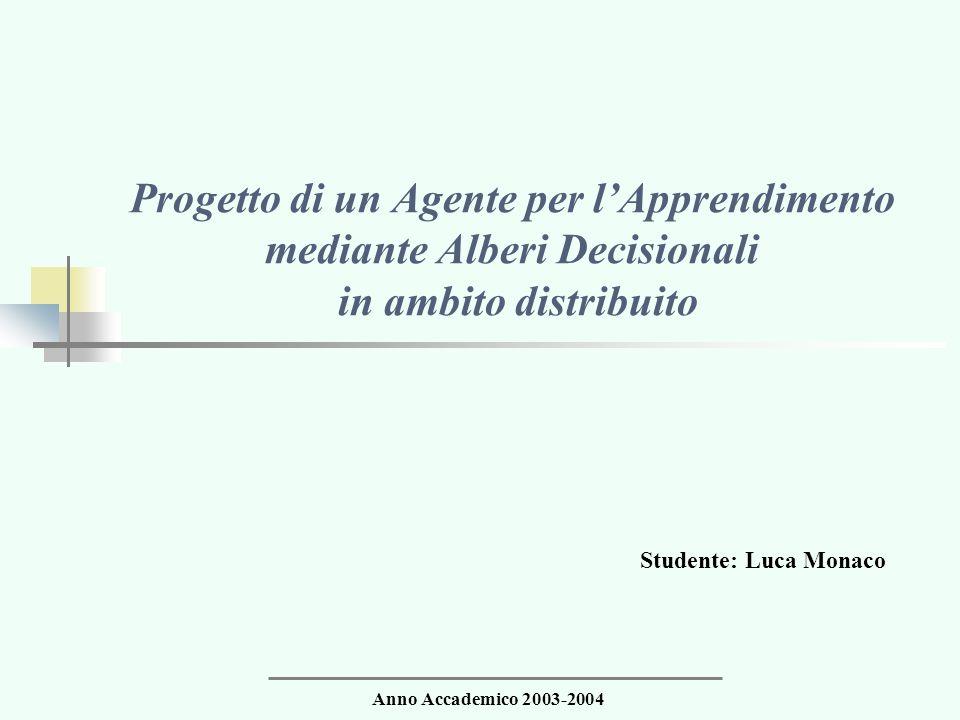 Progetto di un Agente per l'Apprendimento mediante Alberi Decisionali in ambito distribuito Studente: Luca Monaco Anno Accademico 2003-2004