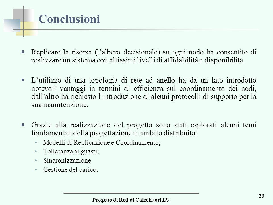 Progetto di Reti di Calcolatori LS 20 Conclusioni  Replicare la risorsa (l'albero decisionale) su ogni nodo ha consentito di realizzare un sistema con altissimi livelli di affidabilità e disponibilità.