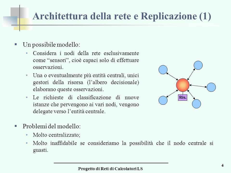 Progetto di Reti di Calcolatori LS 4 Architettura della rete e Replicazione (1)  Un possibile modello: Considera i nodi della rete esclusivamente come sensori , cioè capaci solo di effettuare osservazioni.