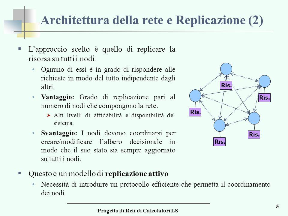 Progetto di Reti di Calcolatori LS 5 Architettura della rete e Replicazione (2)  L'approccio scelto è quello di replicare la risorsa su tutti i nodi.