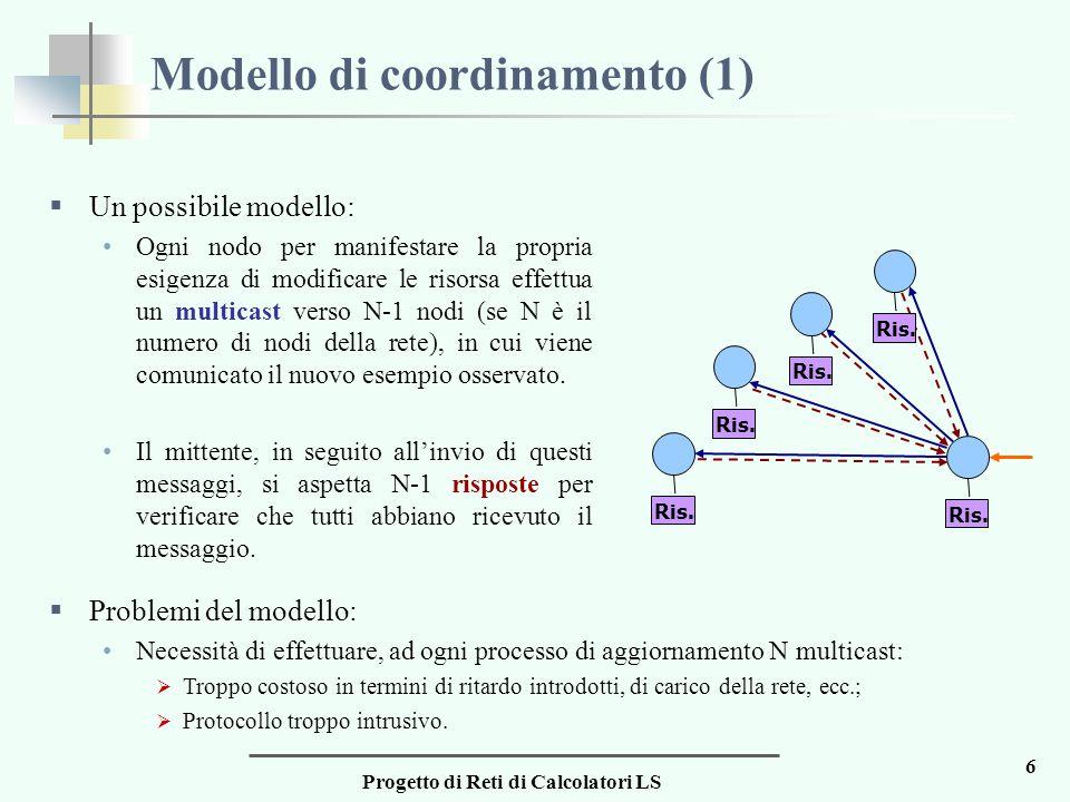 Progetto di Reti di Calcolatori LS 6 Modello di coordinamento (1)  Un possibile modello: Ogni nodo per manifestare la propria esigenza di modificare le risorsa effettua un multicast verso N-1 nodi (se N è il numero di nodi della rete), in cui viene comunicato il nuovo esempio osservato.
