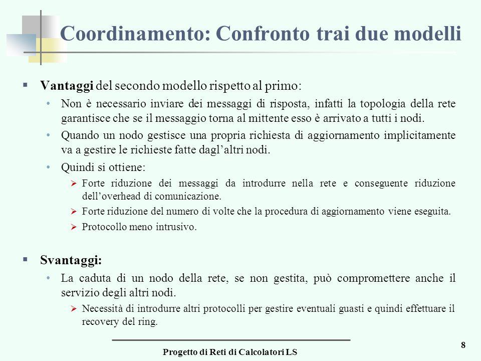 Progetto di Reti di Calcolatori LS 8 Coordinamento: Confronto trai due modelli  Vantaggi del secondo modello rispetto al primo: Non è necessario invi