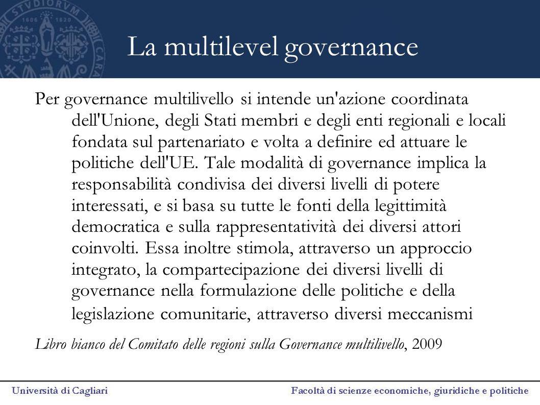 La multilevel governance Per governance multilivello si intende un'azione coordinata dell'Unione, degli Stati membri e degli enti regionali e locali f