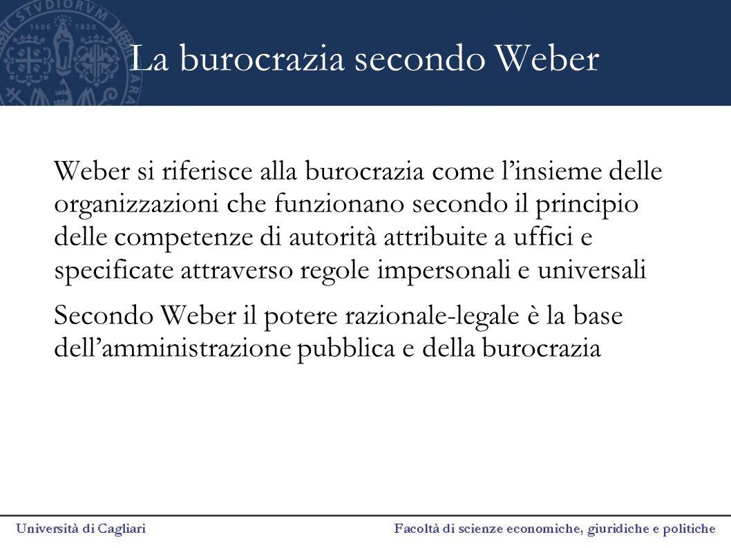 I principi di fondo che caratterizzano la burocrazia secondo Weber 1.Razionalità 2.Neutralità 3.Competenze specialistiche 4.Gerarchia