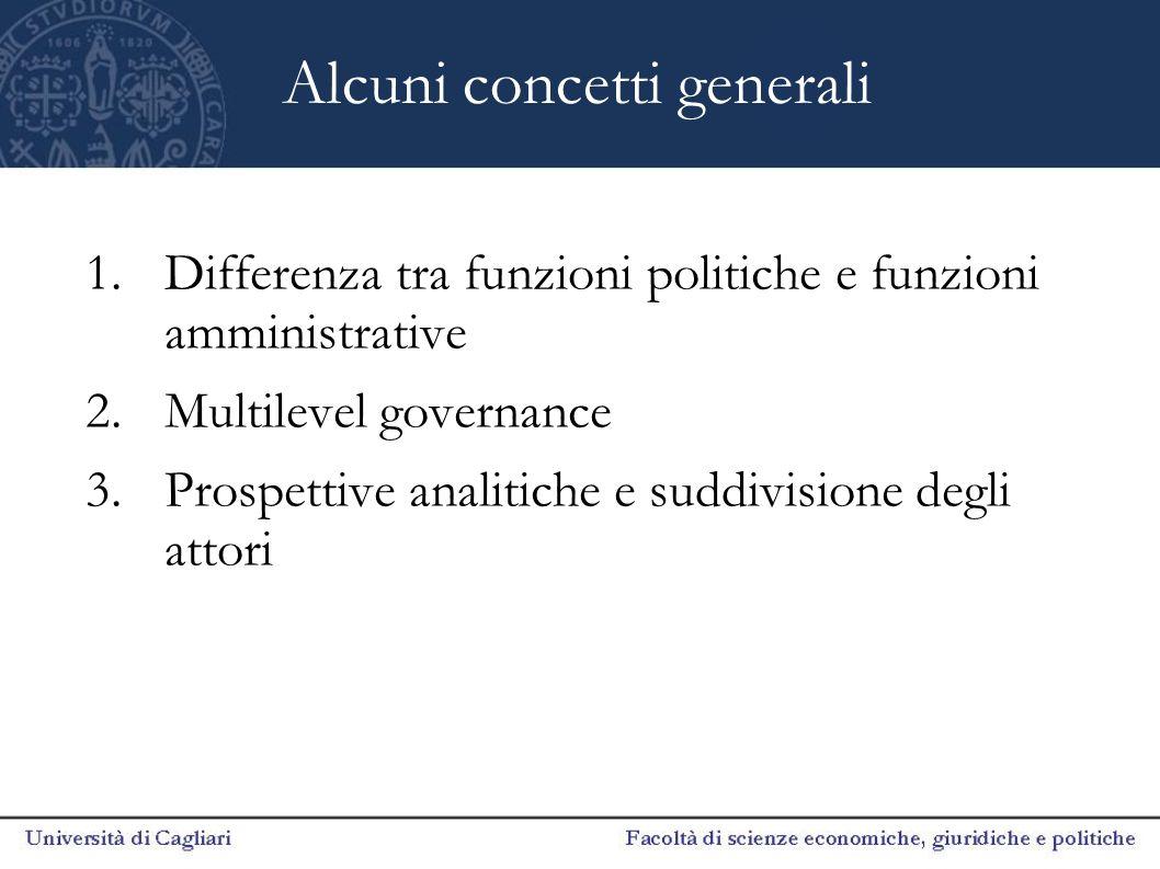 Alcuni concetti generali 1.Differenza tra funzioni politiche e funzioni amministrative 2.Multilevel governance 3.Prospettive analitiche e suddivisione