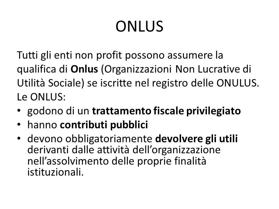 ONLUS Tutti gli enti non profit possono assumere la qualifica di Onlus (Organizzazioni Non Lucrative di Utilità Sociale) se iscritte nel registro dell
