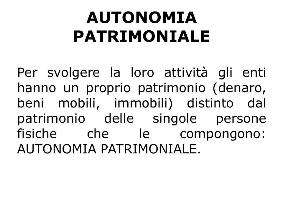 ENTI AUTONOMIA PATRIMONIALE PERFETTA PERSONE GIURIDICHE AUTONOMIA PATRIMONIALE IMPERFETTA ENTI DI FATTO