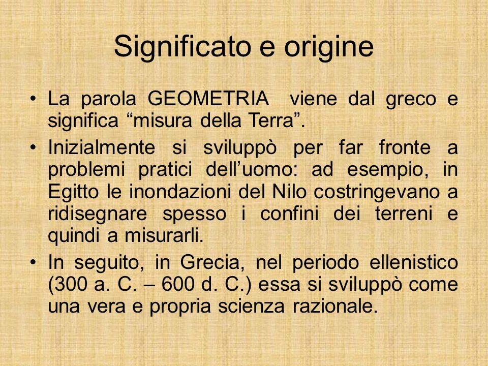 """Significato e origine La parola GEOMETRIA viene dal greco e significa """"misura della Terra"""". Inizialmente si sviluppò per far fronte a problemi pratici"""