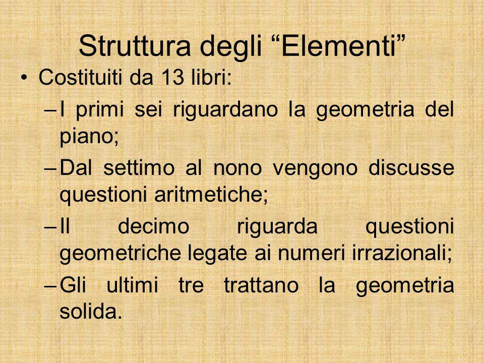 """Struttura degli """"Elementi"""" Costituiti da 13 libri: –I primi sei riguardano la geometria del piano; –Dal settimo al nono vengono discusse questioni ari"""