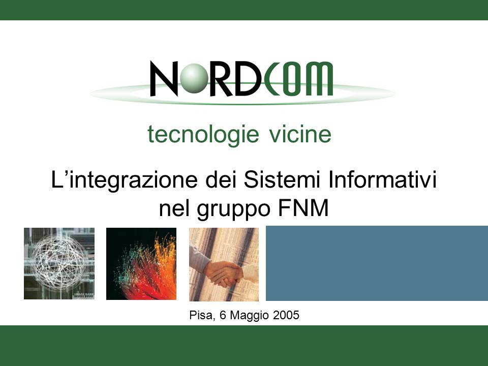 tecnologie vicine Pisa, 6 Maggio 2005 L'integrazione dei Sistemi Informativi nel gruppo FNM