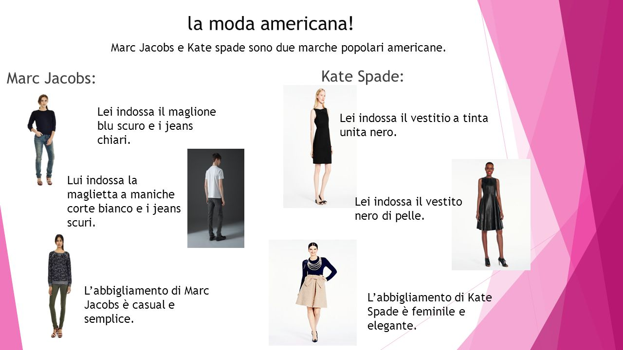 la moda americana! Marc Jacobs: Kate Spade: Lei indossa il maglione blu scuro e i jeans chiari. Lui indossa la maglietta a maniche corte bianco e i je