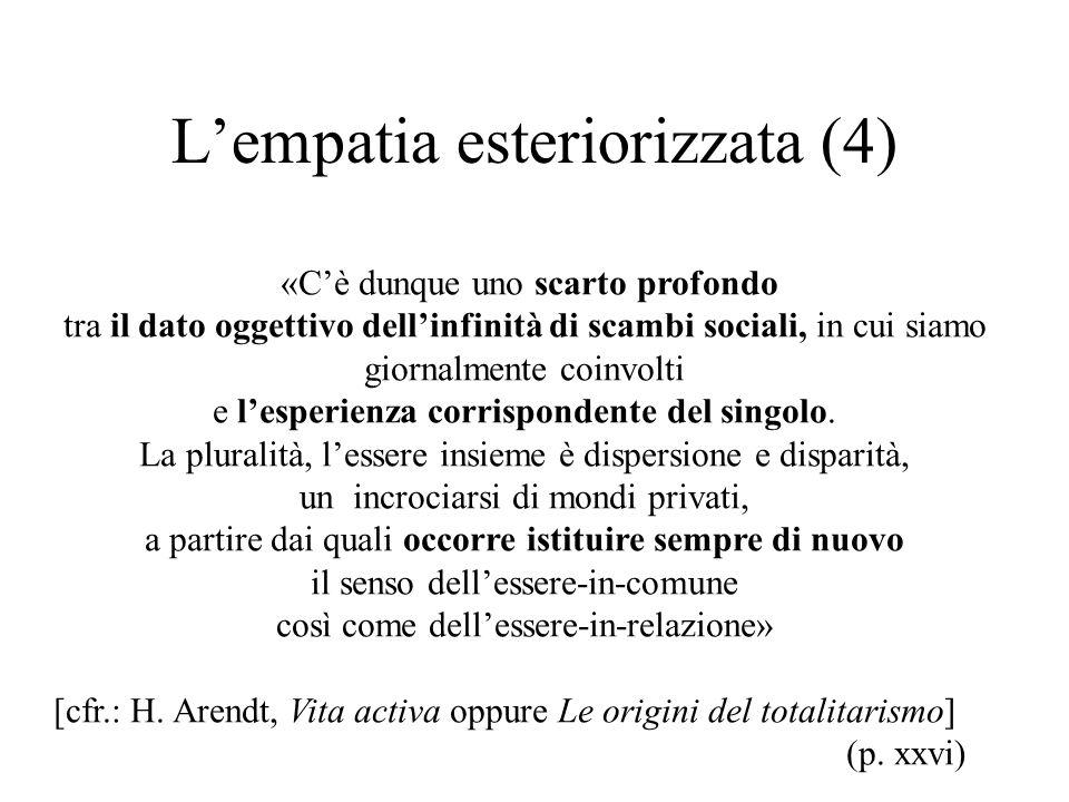 L'empatia esteriorizzata (4) «C'è dunque uno scarto profondo tra il dato oggettivo dell'infinità di scambi sociali, in cui siamo giornalmente coinvolti e l'esperienza corrispondente del singolo.