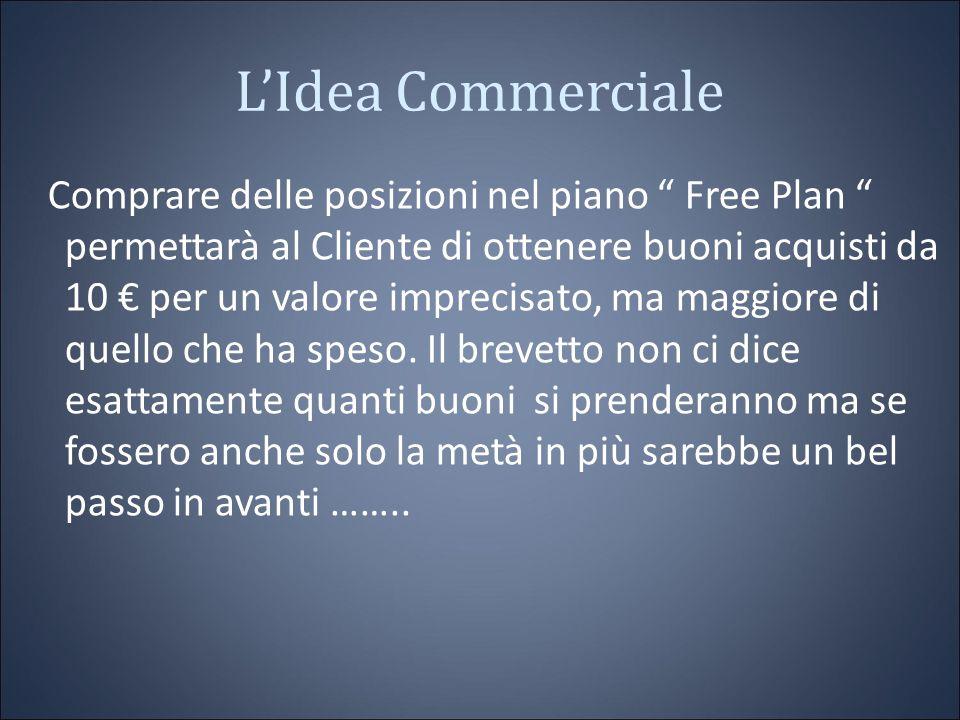 L'Idea Commerciale Comprare delle posizioni nel piano Free Plan permettarà al Cliente di ottenere buoni acquisti da 10 € per un valore imprecisato, ma maggiore di quello che ha speso.