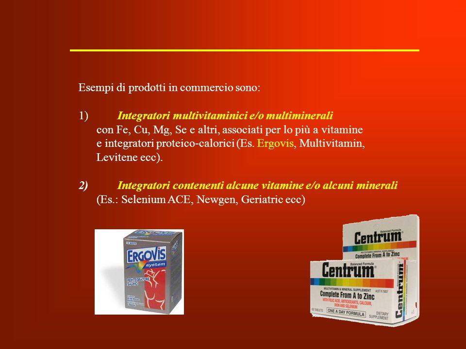 Esempi di prodotti in commercio sono: 1) Integratori multivitaminici e/o multiminerali con Fe, Cu, Mg, Se e altri, associati per lo più a vitamine e i