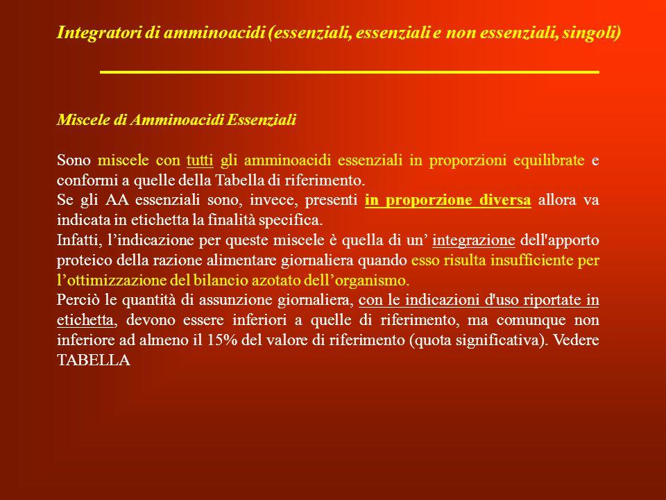 Integratori di amminoacidi (essenziali, essenziali e non essenziali, singoli) Miscele di Amminoacidi Essenziali Sono miscele con tutti gli amminoacidi
