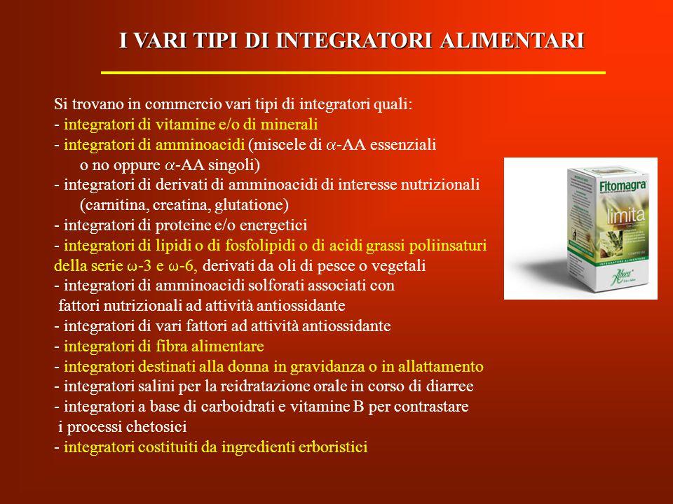 Si trovano in commercio vari tipi di integratori quali: - integratori di vitamine e/o di minerali - integratori di amminoacidi (miscele di  -AA essen
