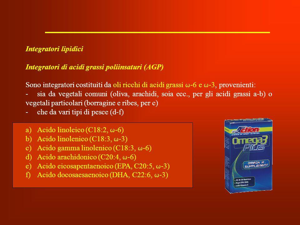 Integratori lipidici Integratori di acidi grassi poliinsaturi (AGP) Sono integratori costituiti da oli ricchi di acidi grassi  -6 e  -3, provenienti