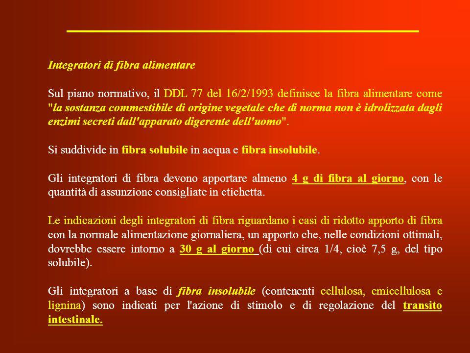 Integratori di fibra alimentare Sul piano normativo, il DDL 77 del 16/2/1993 definisce la fibra alimentare come