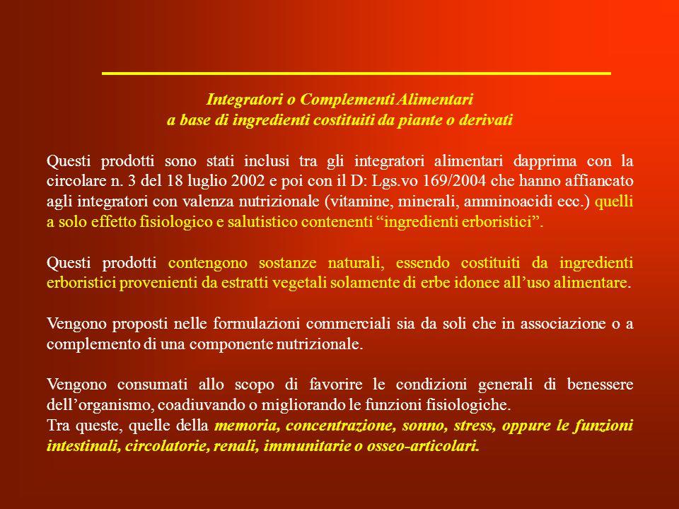Integratori o Complementi Alimentari a base di ingredienti costituiti da piante o derivati Questi prodotti sono stati inclusi tra gli integratori alim