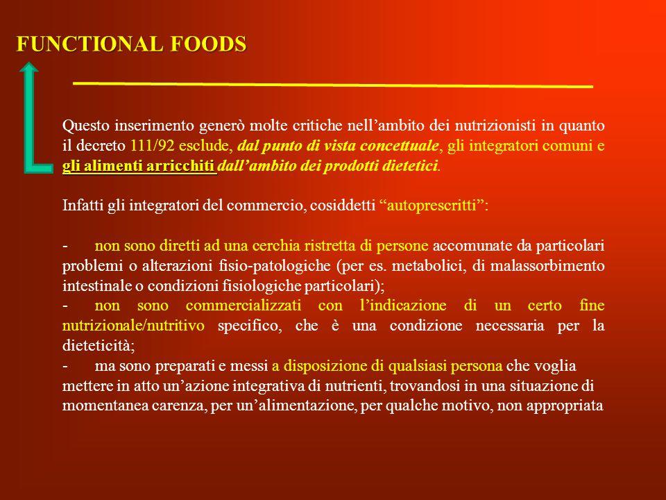 gli alimenti arricchiti Questo inserimento generò molte critiche nell'ambito dei nutrizionisti in quanto il decreto 111/92 esclude, dal punto di vista