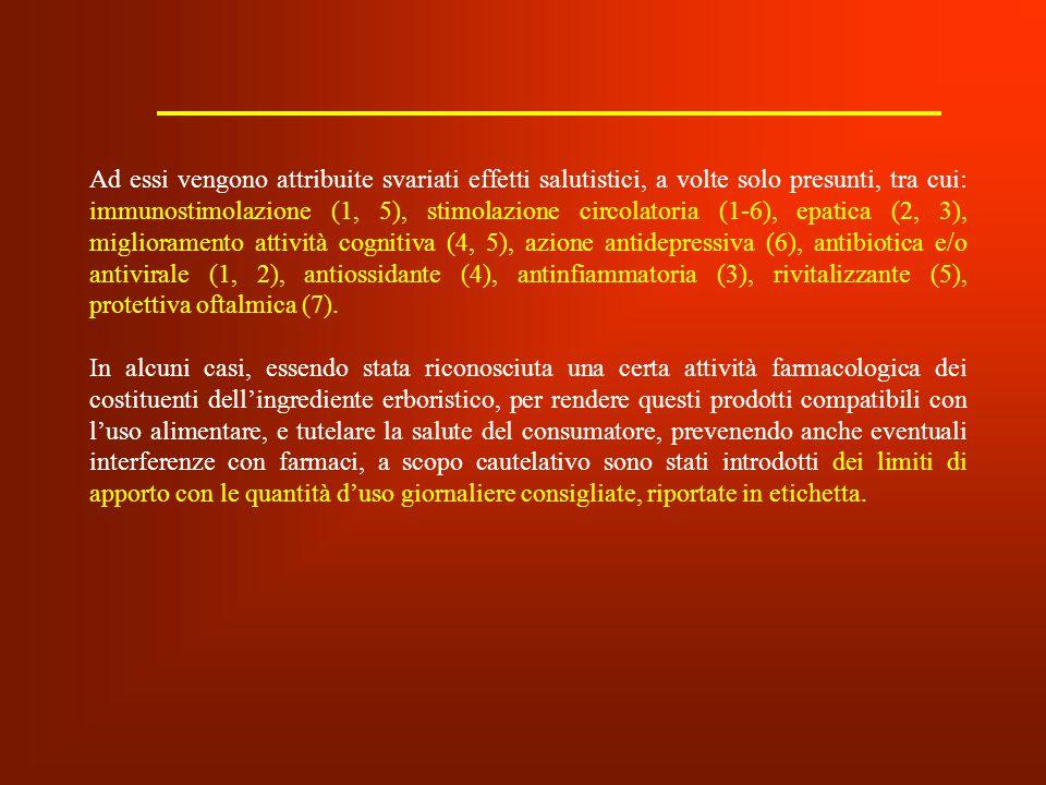 Ad essi vengono attribuite svariati effetti salutistici, a volte solo presunti, tra cui: immunostimolazione (1, 5), stimolazione circolatoria (1-6), e