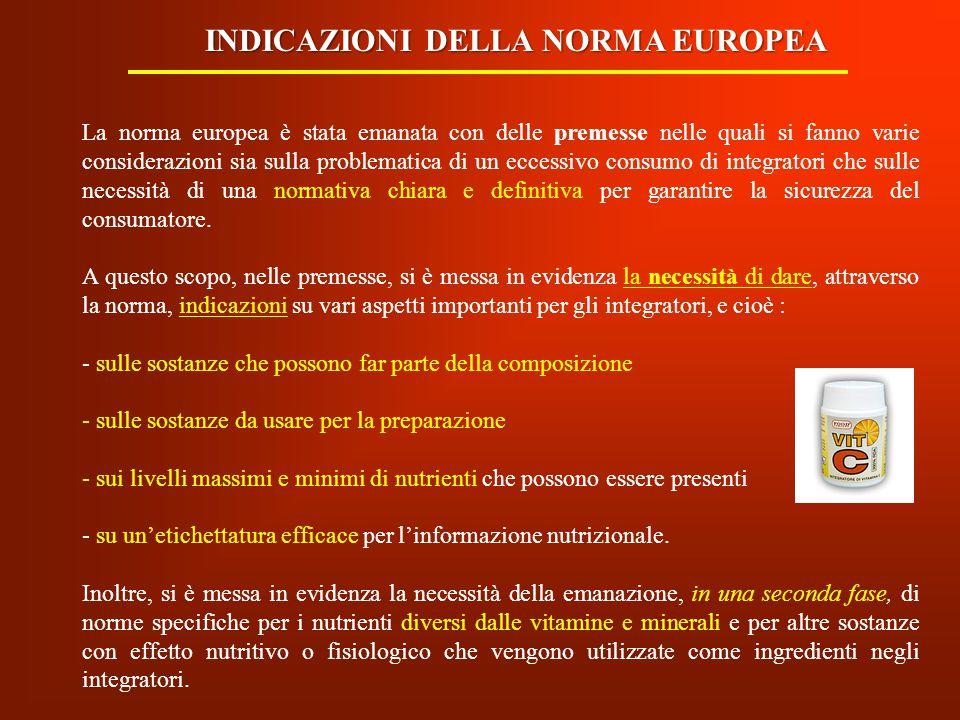 La Normativa Europea 2002/46/CE, oltre alle premesse, consta di 17 articoli e n.