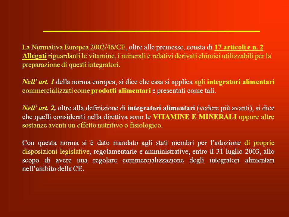 La Normativa Europea 2002/46/CE, oltre alle premesse, consta di 17 articoli e n. 2 Allegati riguardanti le vitamine, i minerali e relativi derivati ch