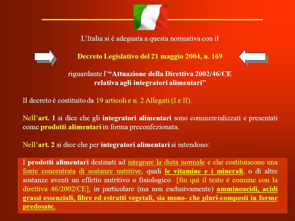 """L'Italia si è adeguata a questa normativa con il Decreto Legislativo del 21 maggio 2004, n. 169 riguardante l'""""Attuazione della Direttiva 2002/46/CE r"""