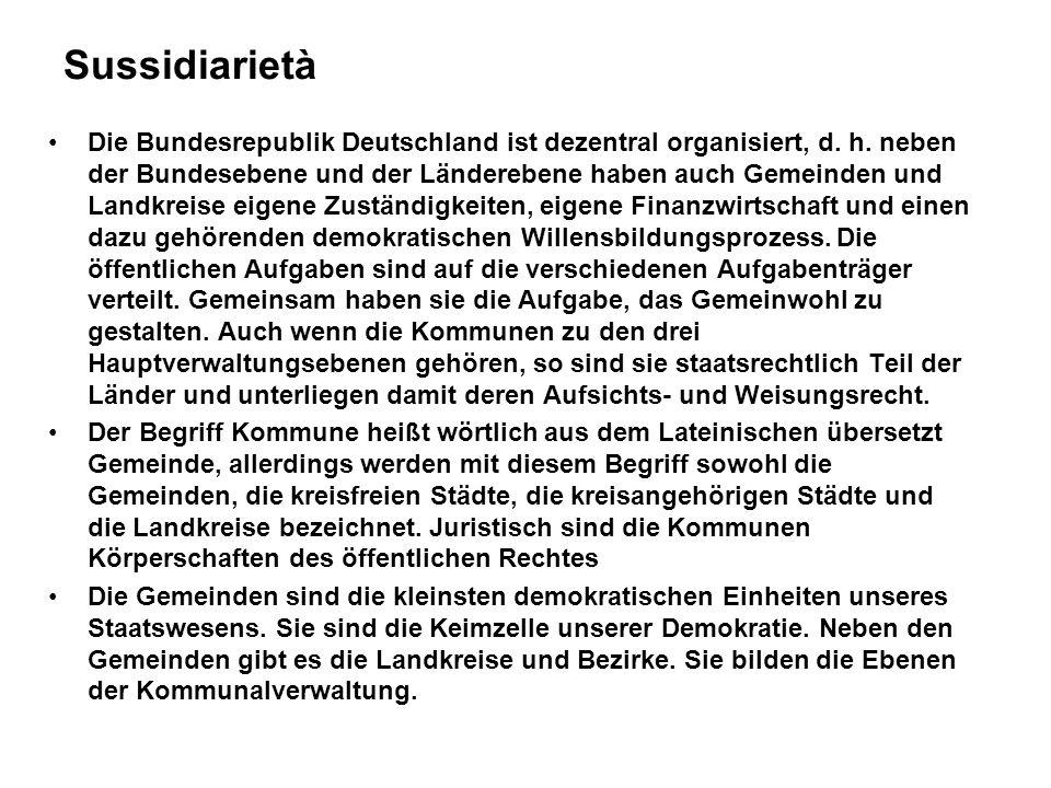 Sussidiarietà Die Bundesrepublik Deutschland ist dezentral organisiert, d.