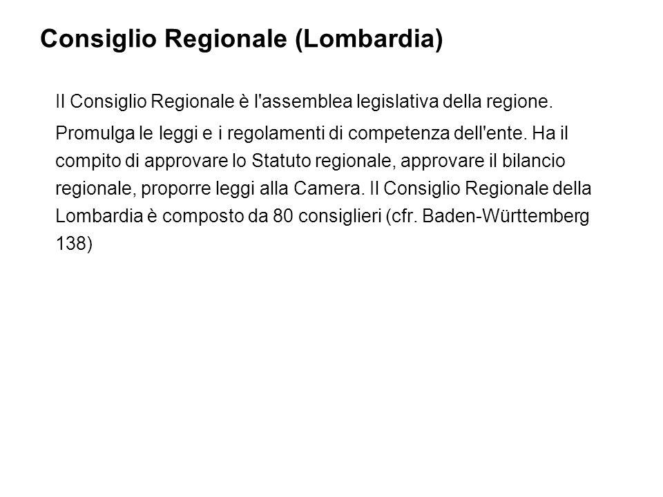 Consiglio Regionale (Lombardia) Il Consiglio Regionale è l assemblea legislativa della regione.