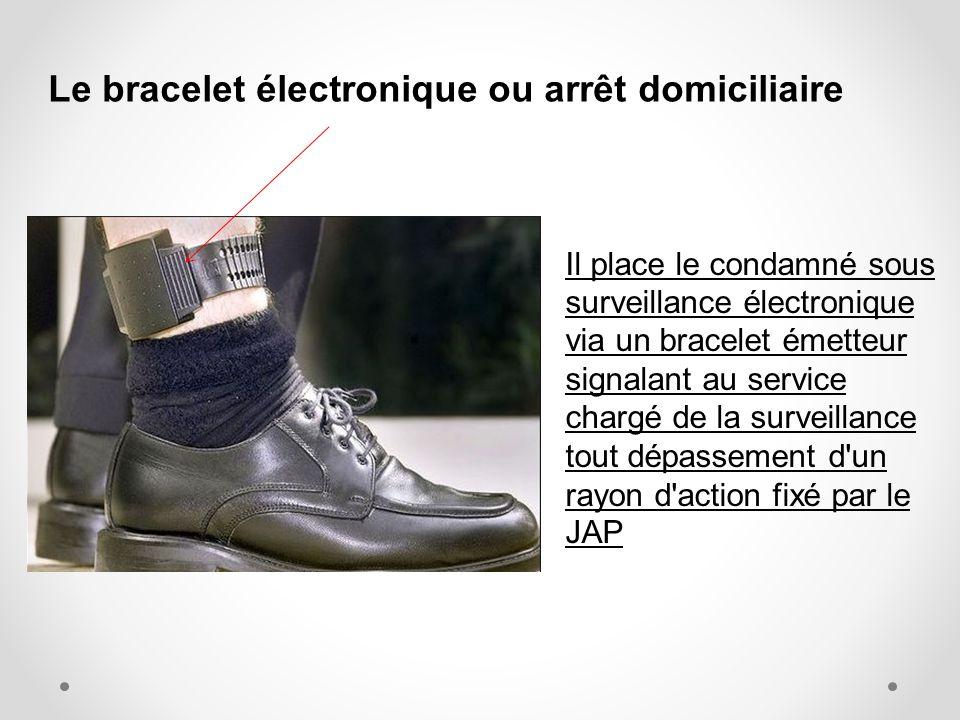 Le bracelet électronique ou arrêt domiciliaire Il place le condamné sous surveillance électronique via un bracelet émetteur signalant au service charg