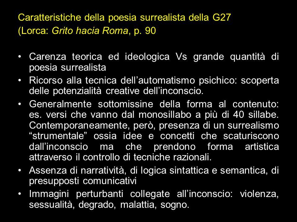 Caratteristiche della poesia surrealista della G27 (Lorca: Grito hacia Roma, p. 90 Carenza teorica ed ideologica Vs grande quantità di poesia surreali