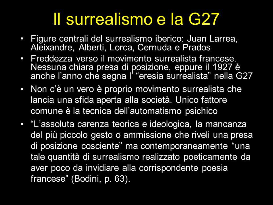 Il surrealismo e la G27 Figure centrali del surrealismo iberico: Juan Larrea, Aleixandre, Alberti, Lorca, Cernuda e Prados Freddezza verso il moviment