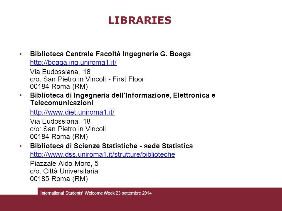 Biblioteca Centrale Facoltà Ingegneria G. Boaga http://boaga.ing.uniroma1.it/ Via Eudossiana, 18 c/o: San Pietro in Vincoli - First Floor 00184 Roma (