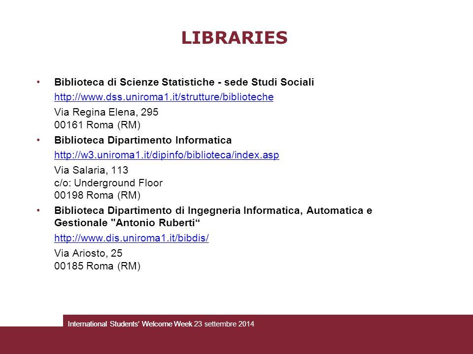 Biblioteca di Scienze Statistiche - sede Studi Sociali http://www.dss.uniroma1.it/strutture/biblioteche Via Regina Elena, 295 00161 Roma (RM) Bibliote