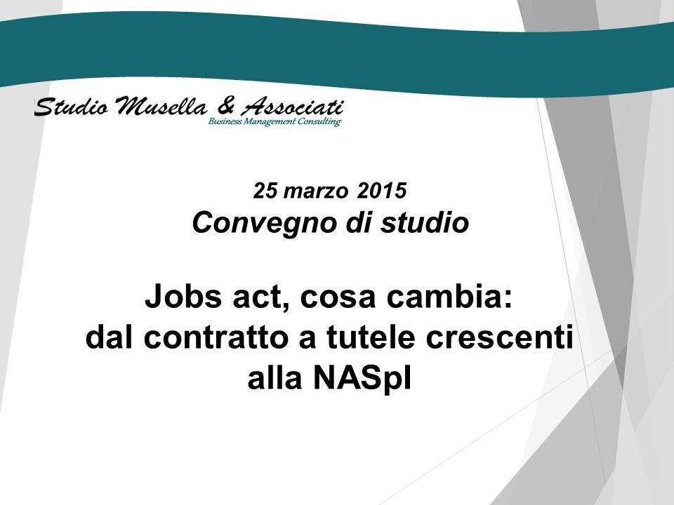 25 marzo 2015 Convegno di studio Jobs act, cosa cambia: dal contratto a tutele crescenti alla NASpI