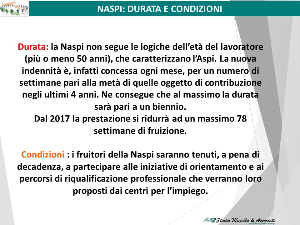 La NASPI diminuisce del 3% mensile con decorrenza dal primo giorno del quarto mese di fruizione. L'ASPI diminuisce del 15% mensile dopo i primi sei me