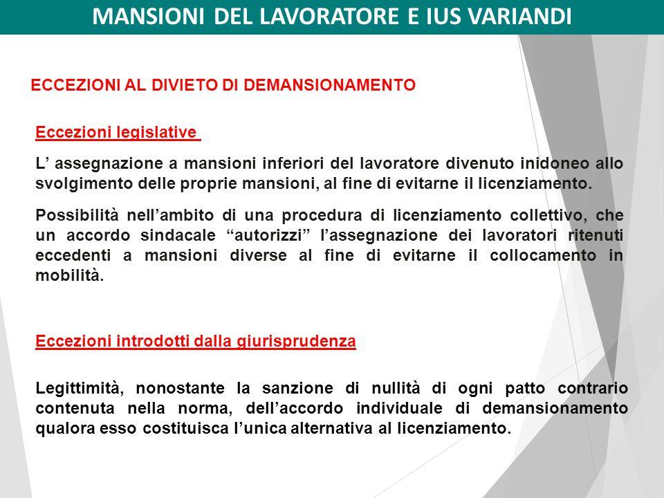 Art. 2103 del Codice Civile (Statuto dei lavoratori)