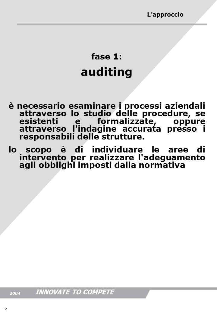 INNOVATE TO COMPETE 2004 6 L'approccio fase 1: auditing è necessario esaminare i processi aziendali attraverso lo studio delle procedure, se esistenti e formalizzate, oppure attraverso l indagine accurata presso i responsabili delle strutture.
