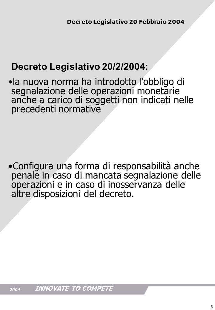 INNOVATE TO COMPETE 2004 4 il decreto prevede importanti obblighi:il decreto prevede importanti obblighi: - obbligo di identificazione - obbligo di conservazione delle informazioni - obbligo di comunicazione a questi obblighi vengono riconnesse gravi sanzioni in caso di inosservanza Decreto Legislativo 20 Febbraio 2004