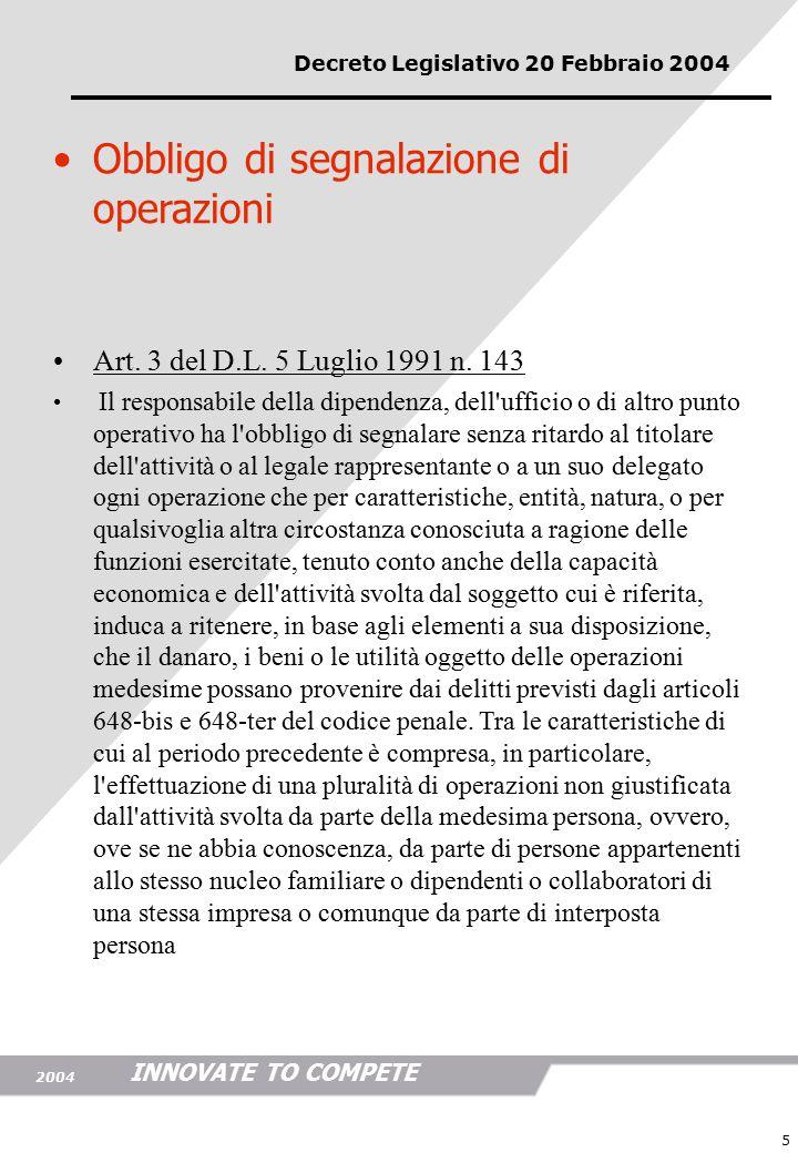 INNOVATE TO COMPETE 2004 5 sanzioni Art.7 del D.lgs.