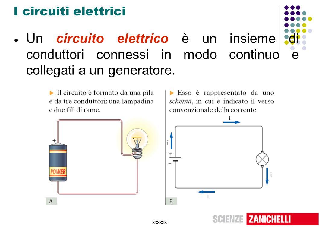 xxxxxx I circuiti elettrici  Un circuito elettrico è un insieme di conduttori connessi in modo continuo e collegati a un generatore.