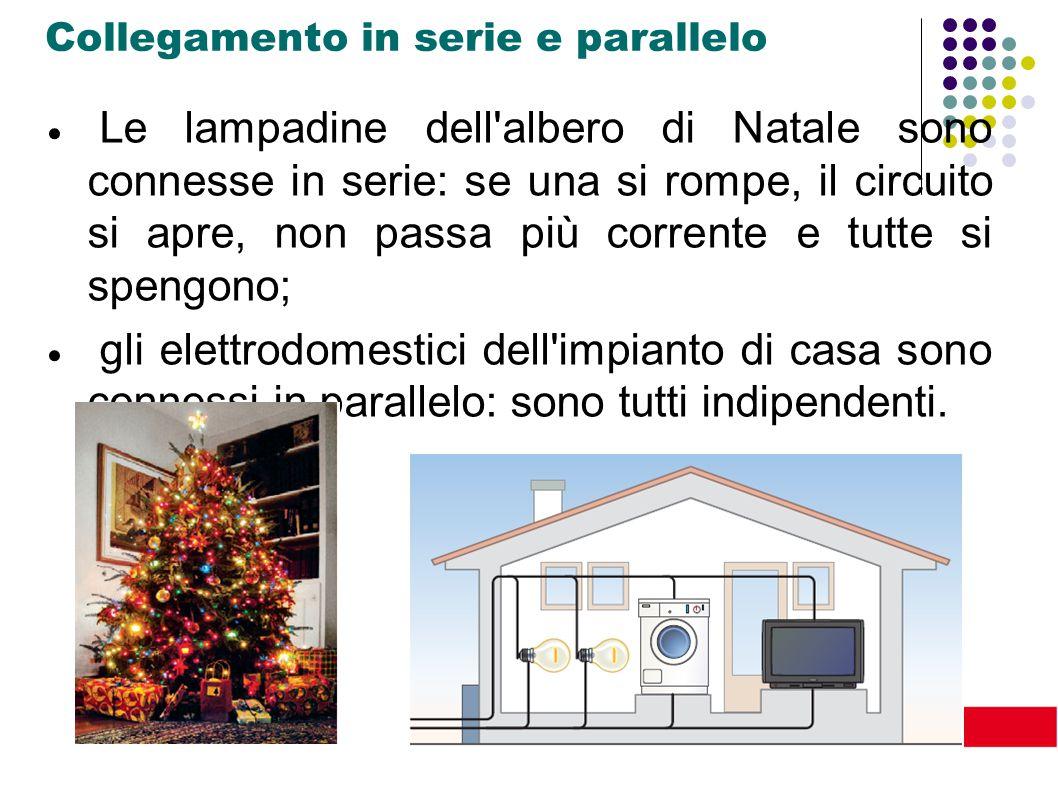 xxxxxx Collegamento in serie e parallelo  Le lampadine dell'albero di Natale sono connesse in serie: se una si rompe, il circuito si apre, non passa