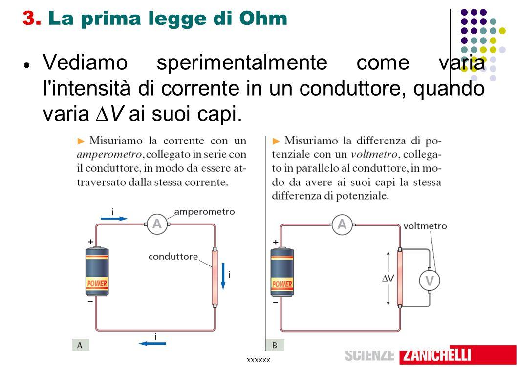 xxxxxx 3. La prima legge di Ohm  Vediamo sperimentalmente come varia l'intensità di corrente in un conduttore, quando varia  V ai suoi capi.