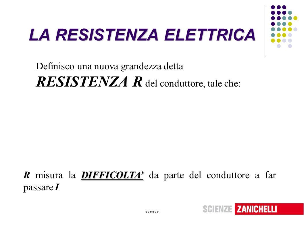 xxxxxx LA RESISTENZA ELETTRICA Definisco una nuova grandezza detta RESISTENZA R del conduttore, tale che: DIFFICOLTA' R misura la DIFFICOLTA' da parte