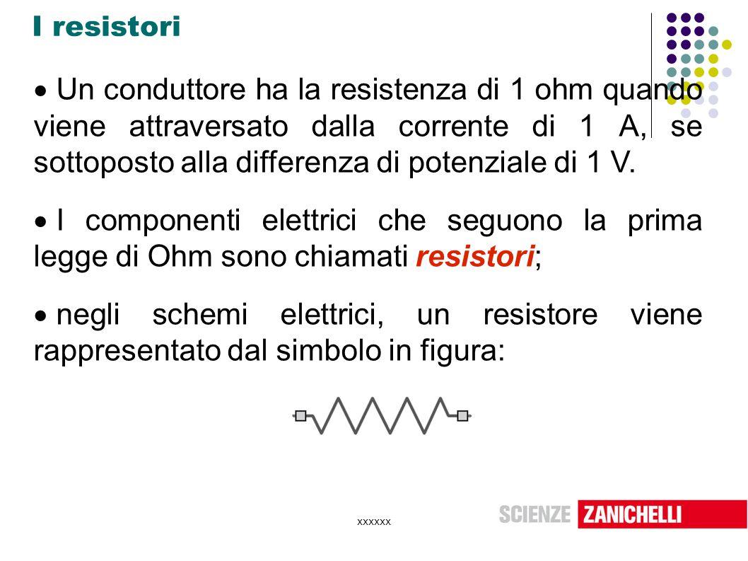 xxxxxx I resistori  Un conduttore ha la resistenza di 1 ohm quando viene attraversato dalla corrente di 1 A, se sottoposto alla differenza di potenzi