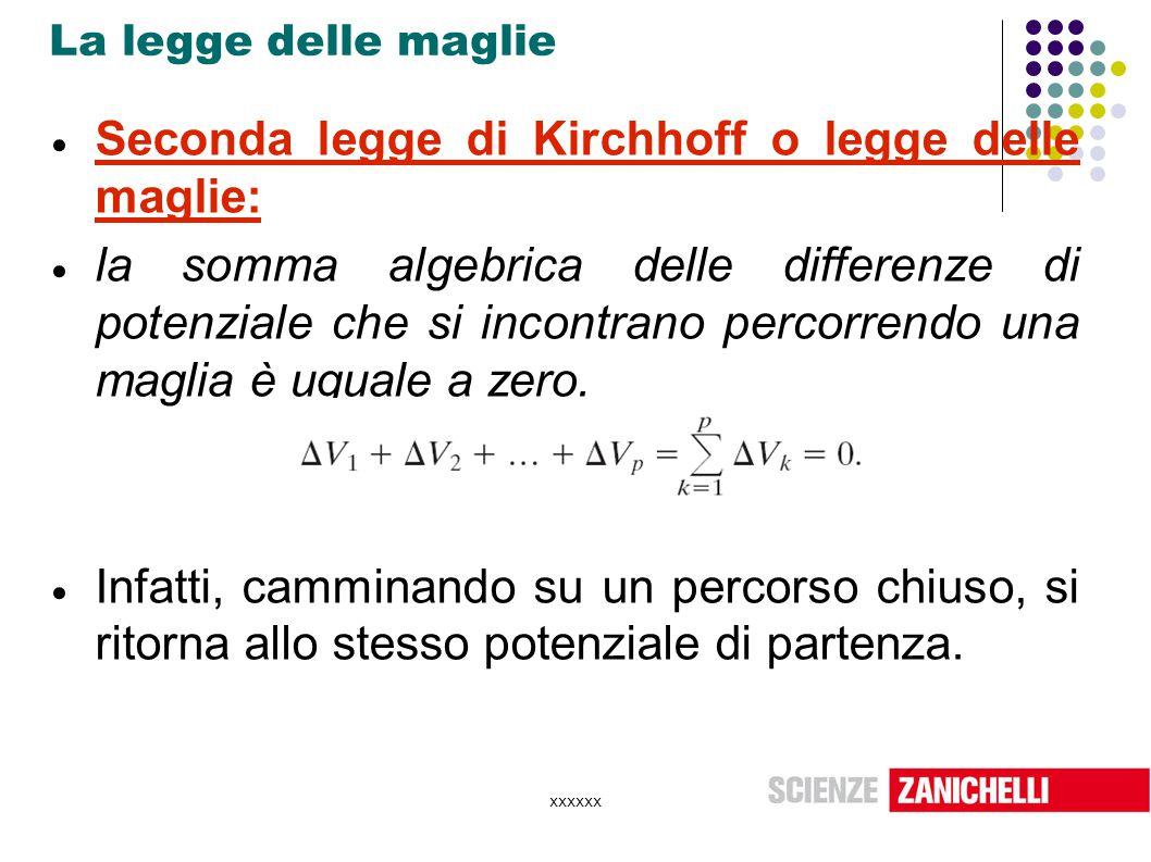 xxxxxx La legge delle maglie  Seconda legge di Kirchhoff o legge delle maglie:  la somma algebrica delle differenze di potenziale che si incontrano