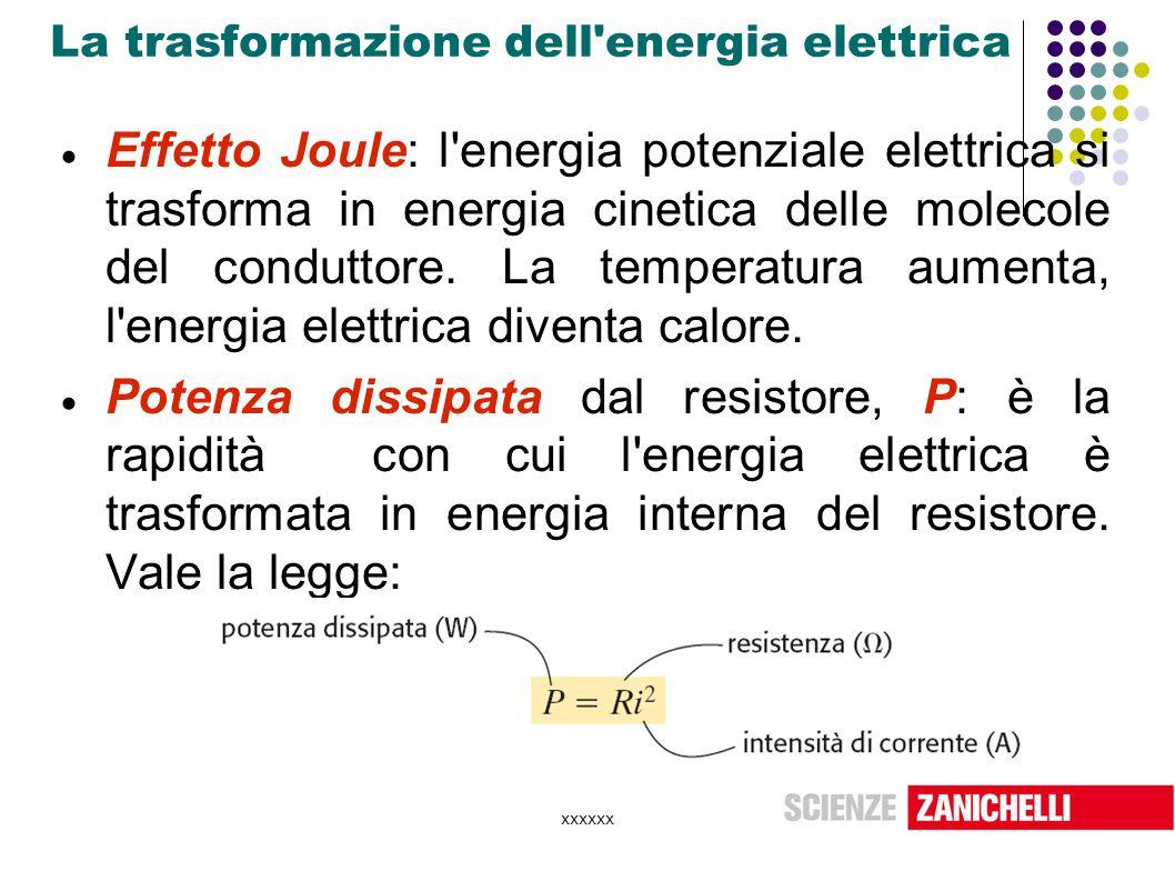 xxxxxx La trasformazione dell'energia elettrica  Effetto Joule: l'energia potenziale elettrica si trasforma in energia cinetica delle molecole del co