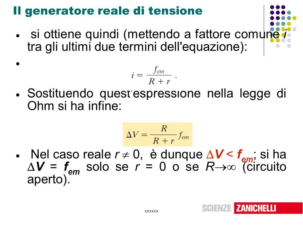 xxxxxx Il generatore reale di tensione  si ottiene quindi (mettendo a fattore comune i tra gli ultimi due termini dell'equazione):   Sostituendo qu